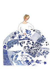 Priodas tsieni (Valriane Leblond) Tags: china blue wedding art quilt aquarelle bleu watercolour porcelaine patchwork glas noces gallois priodas 20thanniversary willowpattern cymreig jenjones elsh tsieni cwilt valerianeleblond clytwaith dyfrlliw vingtansdemariage