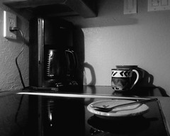 Waiting for the Morning (Flickr Goot) Tags: blackandwhite bw white black coffee oneaday canon project point evening shoot object january spoon powershot cups photoaday handheld pointandshoot 365 300 maker hs elph pictureaday project365 2013
