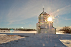 Bell Tower Background (L E Dye) Tags: winter snow canada building church rural nikon belltower alberta lensflare 24 prairie godsrays d5100 ledye 113picturesin2013 stmaryswowedenia