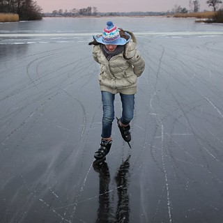 Samantha skating against the strong and extreme chill wind