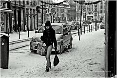 walk out to winter (japanese forms) Tags: street winter bw snow cold cars ice girl monochrome digital blackwhite random candid streetphotography agfa streetshot azteccamera roddyframe agfafilm strasenfotografie walkouttowinter ©japaneseforms2013
