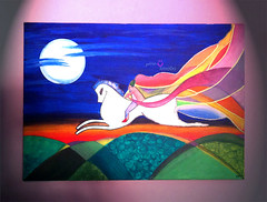 Fairy-tale (timo0o) Tags: blue school light red sky horse orange cloud moon white inspiration black mountains green art colors grass yellow fairytale night project dark painting grey paint artist acrylic purple horizon like class fairy painter saudi knight ping riyadh tale timo acrylics ksa auras      timo0o tamadher