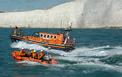 Lifeboat (KrisztiAT) Tags: d70s nikon 7 eastbourne newhaven lifeboat sea waves cliffs seven sisters beach beachyhead dinghy emergency exercise water chalk crew
