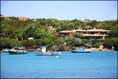 sea, summer, Sardinia (angelsgermain) Tags: blue trees houses light sea summer italy water boats island coast mediterranean italia sardinia portocervo costasmeralda