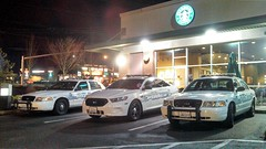 Mill Creek Police Department Vehicles at the Starbucks Coffee (andrewkim101) Tags: county ford mill creek sedan washington state police victoria next vehicles wa crown generation department k9 interceptor unit snohomish flickrandroidapp:filter=none