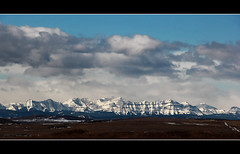 On A Clear Day (LostMyHeadache: Absolutely Free *) Tags: winter sky snow mountains nature field clouds canon landscape hills rockymountains peaks prairies blackdiamond davidsmith okotoks calgaryalbertacanada eos60d