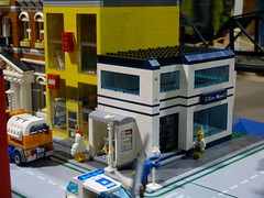 Lego Store and Bank (Saskatchewan Lego Users Group) Tags: city canada train layout lego space vehicles saskatoon slug lug caslte 2013