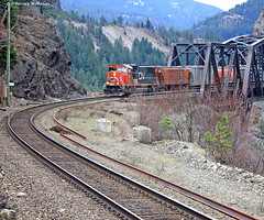 CN Train - Fraser River - Canada (Electric Crayon) Tags: railroad orange canada train britishcolumbia tracks fraserriver lytton siska canadiannationalrailway trussbridge patrickmcmanus electriccrayon ciscobridges