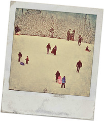 Sled Hill (Explored) (Wes Iversen) Tags: snow vintage polaroid sledding sleds odc nikkor18300mm ourdailychallenge