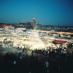 Marrakech (minou*) Tags: winter people food 6x6 night rollei rolleiflex square december chaos smoke hiver stall morocco maroc marrakech medina soir crowds decembre jamaaelfna