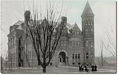 High School, Frankfort, Indiana (Hoosier Recollections) Tags: houses girls usa history kids buildings children clothing barns hats indiana pedestrians schools residential frankfort clintoncounty hoosierrecollections