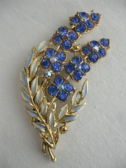 "1950s Blue Diamante Floral Spray Brooch • <a style=""font-size:0.8em;"" href=""http://www.flickr.com/photos/92035948@N03/8549605146/"" target=""_blank"">View on Flickr</a>"