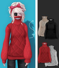 welldone.atelier / High Neck Sweater (Kere Millar ) Tags: red white black fashion neck sweater high mesh well sl secondlife week rigged bege welldone welldoneatelier
