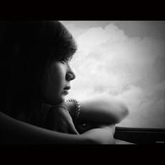 Daydream [ EXPLORED ] (-clicking-) Tags: girls portrait blackandwhite bw texture monochrome beautiful beauty sadness blackwhite mood sad faces emotion lovely miss sorrow visage nocolors windowlighting vietnamesegirls