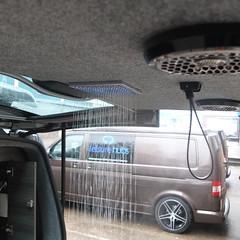 Rainforest Shower (Leisure Hubs) Tags: lighting wood kitchen vw volkswagen shower tv bed rainforest conversion designer system dining comfort curved camper luxury campervan stylish reimo corian bebb