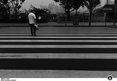 China 2012 III - Zebra Man (Artek Halpern-Laurence) Tags: china light blackandwhite lines d50 walking person smog nikon day crossing shanghai wideangle line