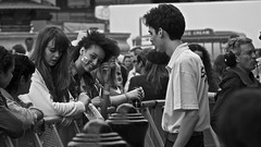 Behind the barricades-July, 2012 (danielleonard1) Tags: street people bw girl canon crowd pride2012
