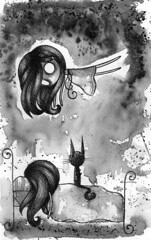 Me sumergen... (Anita Mejia) Tags: white black cute illustration night ink watercolor creepy pendrawing alturas chocolatita sumergen anitamejia