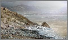 Rocks (Glenda Hall) Tags: ocean ireland winter sea cold texture beach nature water newcastle rocks waves fuji stones gimp windy pebbles shore finepix northernireland layers february splash hdr ulster codown exr tonemapping 2013 f770 fleursetpaysages lenabemanna glendahall glendahallphotography