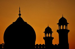 Orange (Srosh) Tags: pakistan sunset orange silhouette architecture colours prayer mosque serenity lahore islamicarchitecture badshahimosque sillouhette mughalarchitecture maghrib architecturalheritage
