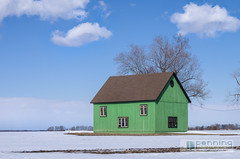 A Little Green on the Prairie (MattPenning) Tags: blue trees sky white snow green clouds barn pentax sigma sunny potd k5 springfieldillinois skyclouds mattpenning kmount sigma1020mmf456exdc mattpenningcom greenbarn penningphotography justpentax pentaxk5
