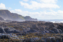 Sea mist (Rob Hall -) Tags: sea spray mist rocks beach geology waves coast shore seaweed green shine uk sky clouds cloud