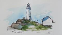 Cape Spear Lighthouse, Newfoundland (sheelerart) Tags: video youtube youtubers landscape art original watercolor winsorandnewton watercolour painting paintingaday penandink architecture ink moleskinearts canada imagesofcanada newfoundland lighthouse