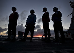 Sailors stand by on the flight deck during flight operations, during Rim of the Pacific 2016