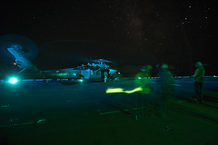 160823-N-DT061-018 (CNE CNA C6F) Tags: amphibiousreadygroup flightdeck lhd1 mh60s seahawk sailors usnavy usswasp wasparg flightoperations nightflightoperations mediterraneansea