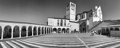 Assisi (sandroo) Tags: iphone assisi italia italy san francesco basilica piazza colonnato pano panoramica silver efex