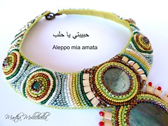 Aleppo collana ricamata a mano con cabochon in ceramica perline e avventurina Martha Mollichella design (La Casina di Tobia) Tags: aleppo collana ricamata mano con cabochon ceranaurimica perline e avventla urina martha mollichella design bead embroidered necklace dedicated beloved city sirya wwwmarthamollichellacom