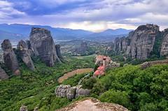 Meteora (Perfect Gnat) Tags: kalambaka greece meteora monastery landscape panorama sky rocks mountains trees nature wideangle roussanou kalabaka