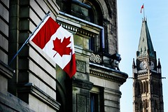 Canadian Flag (kurnmit) Tags: parliamenthill ontario canada flag gothicbuilding building politics tower clock ottawa