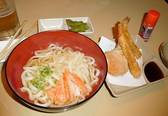 Udon and tempura (Just Back) Tags: bowl food sticks chopsticks broth noodles sushi japanese restaurant table spice carolina udon tempura crust taste