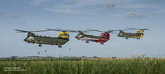 Chinooks celebrate the 100th anniversaries of 18(B) and 27 Squadron from RAF Odiham and 28 Squadron from RAF Benson. (Defence Images) Tags: hc3 hc2a support helicopter aircraft equipment rafbenson 28sqn 28squadron 27sqn 27squadron 18sqn 18squadron supporthelicopter sqn squadron raf royalairforce groundtoair 4ship 3ship salisburyplaintrainingarea spta chinookmk4 chinook centenary formation rafodiham za712 za683 tailart hover bluesky clouds defence free defense uk british military odiham