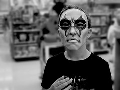 You asked to see the manager? {267/366} (therealjoeo) Tags: mask halloween texas portrait blackandwhite glasses store 366 365 365project