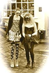 _DSC1627 (petelovespurple) Tags: whitbygothweekend whitby women girls goths gothic goth gothicweekendcostumesdressupvictorianedwardianfashionmakeupmakeupelizabethanvampirevampiresjetwhitbyjetdraculasteampunkalternativeretrofetishperiodvelvetblacksilkleatherbowlerhatsfangsbootswaistcoa sepia boots pantyhose