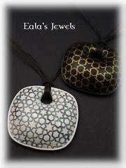 Arabic star tile pendants (Eala's Jewels) Tags: polymer clay handmade jewelry ealajewels tile star arabic islamic wall pendant white faux ceramic blue silkscreen black gold
