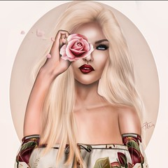 Only in art will the lion lie down with the lamb, and the rose grow without the thorn. (akashiy) Tags: secondlife rose angel pink woman elegant red lips