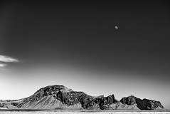 Moon and Evindarhólar (John Fÿn Photography) Tags: 2470mm 2470mmf28 anseladams bw blackandwhite constantaperture d810 evindarhólar gray grey iceland mono monochrome nordic nikkor2470mm nikon nikonfx republicoficeland sky alps cloud crag elevation foothills hill jagged landscape moon mountain outdoor peak polarised polariser polariserfilter polarized polarizer polarizerfilter range ridge rock south is