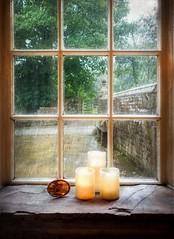 Rainy Day At Ponden Hall (vesna1962) Tags: window windowsill mullionwindow candles litcandles picture rain pondenhall giddingsroom brontes haworth westyorkshire england