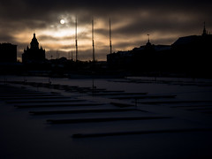 winter light (miemo) Tags: city winter sky sun sunlight snow ice silhouette skyline clouds finland harbor helsinki europe cathedral olympus kruununhaka omd katajanokka uspenski halkolaituri em5 panasonic1235mmf28