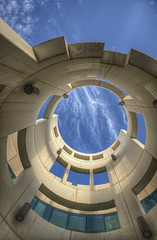 The Tower (heshaaam) Tags: sky abstract tower college clouds circle bahrain university science uob