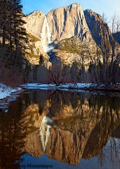 Sunrise, Yosemite Falls, CA (4 Corners Photo) Tags: california morning trees winter sky snow mountains cold color reflection ice water vertical sunrise landscape unitedstates northamerica yosemitenationalpark geology yosemitevalley mercedriver sierranevadamountains mariposacounty 4cornersphoto