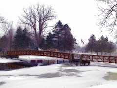 ER Bridge winter (Deb Malewski) Tags: bridge eatonrapids flagribbet