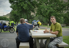 Hot lunch in Copperfield Park (Trail Image) Tags: jason oregon ben eating motorcycle abbott oxbow badmemory kawasakiklr650