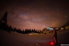 is anybody out there? ([nosamk] KMason photography) Tags: longexposure trees red portrait sky snow night stars landscape frozen washington nationalpark unitedstates explore mountbaker selfy milkyway deming mountshuksan picturelake interestingness142 sigma15mmf28exdgdiagonalfisheye