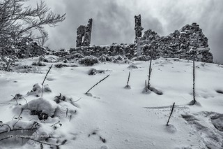 Ruins and snow.