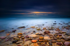 Mystic Morning (Noval N | Photography) Tags: ocean longexposure seascape beach nature clouds sunrise landscape rocks sydney blues australia