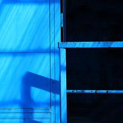 Blue (tanakawho) Tags: blue shadow abstract sunny line squareformat railing tanakawho somethingblueinmylife